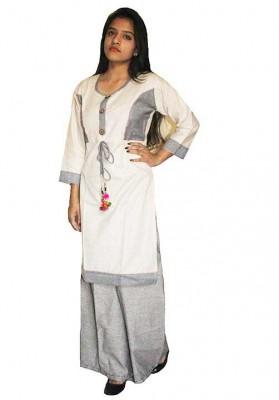 Syann Khadi Palazzo Suit - (Off White and Gray)