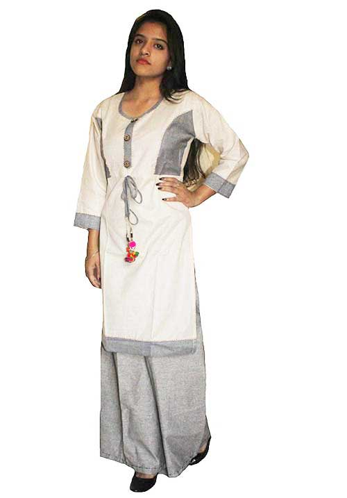 Syann Khadi Palazzo Suit - (Off White and Gray)